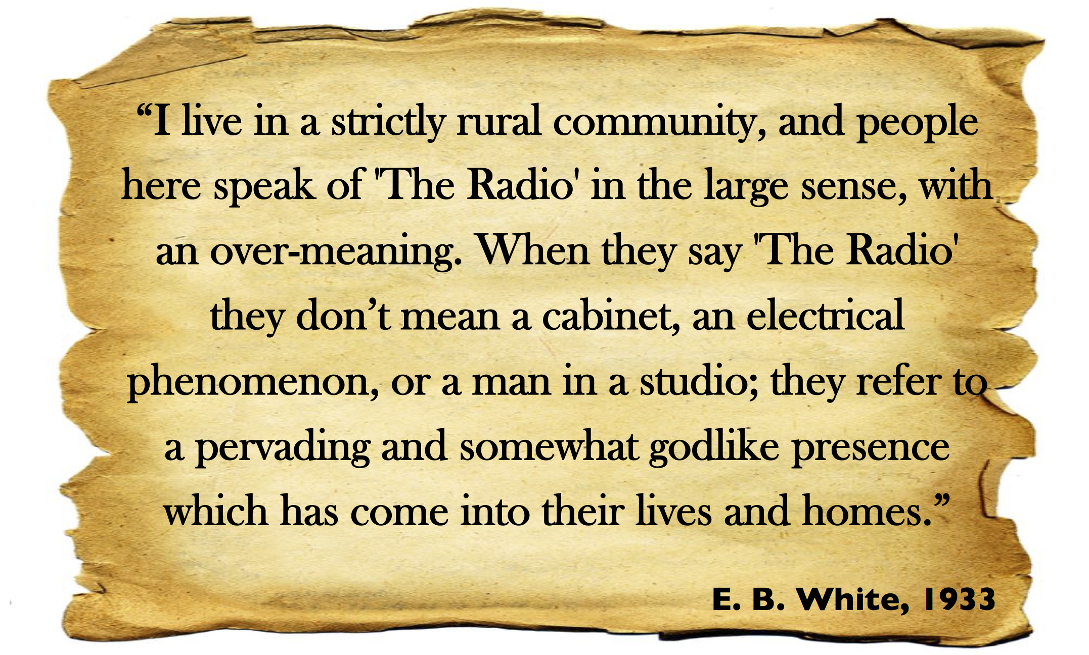 e.b. white essayist quote E b white's most important literary influence was henry david thoreau, author of walden: or, life in the woods (1854), the only book white really cared about owning the influence of thoreau.